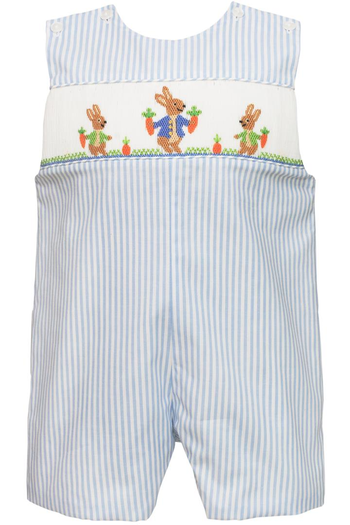 55cbd1f94178d Bunnies Garden Light Blue and White Stripe Hand Smocked Bunny Jon Jon with  White Peter Pan Collar Piped Short Sleeve Button-Up Shirt Sizes Available: