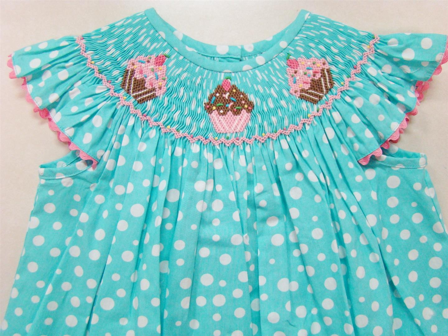 7397cc97d944 Aqua and White Polka Dot Hand Smocked Cupcake Angel Sleeve Bishop Sizes  Available
