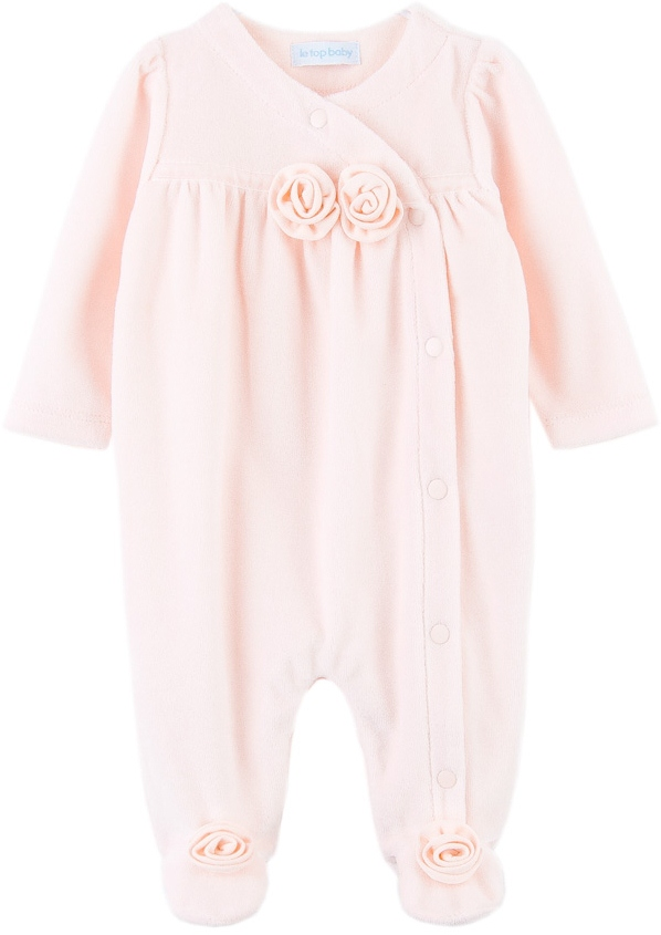bdc9402de9ee LeTop. Floral Rosa Pink Velour Rosebud Footed Longall Sizes Available