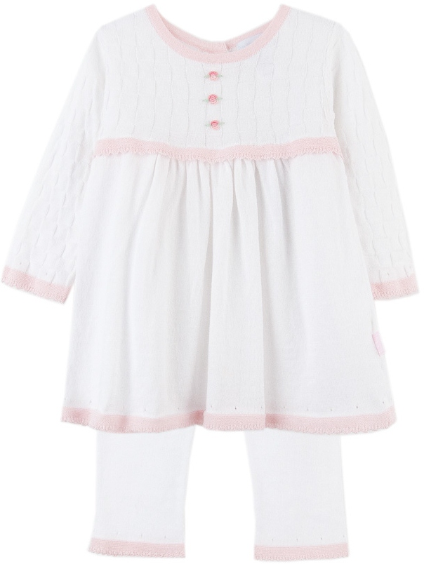 cf1e3dc5df0e LeTop. Treasured Baby White Knit Long Sleeve Sweater Dress with Rosebud  Detail and Elastic Waist Leggings Sizes Available