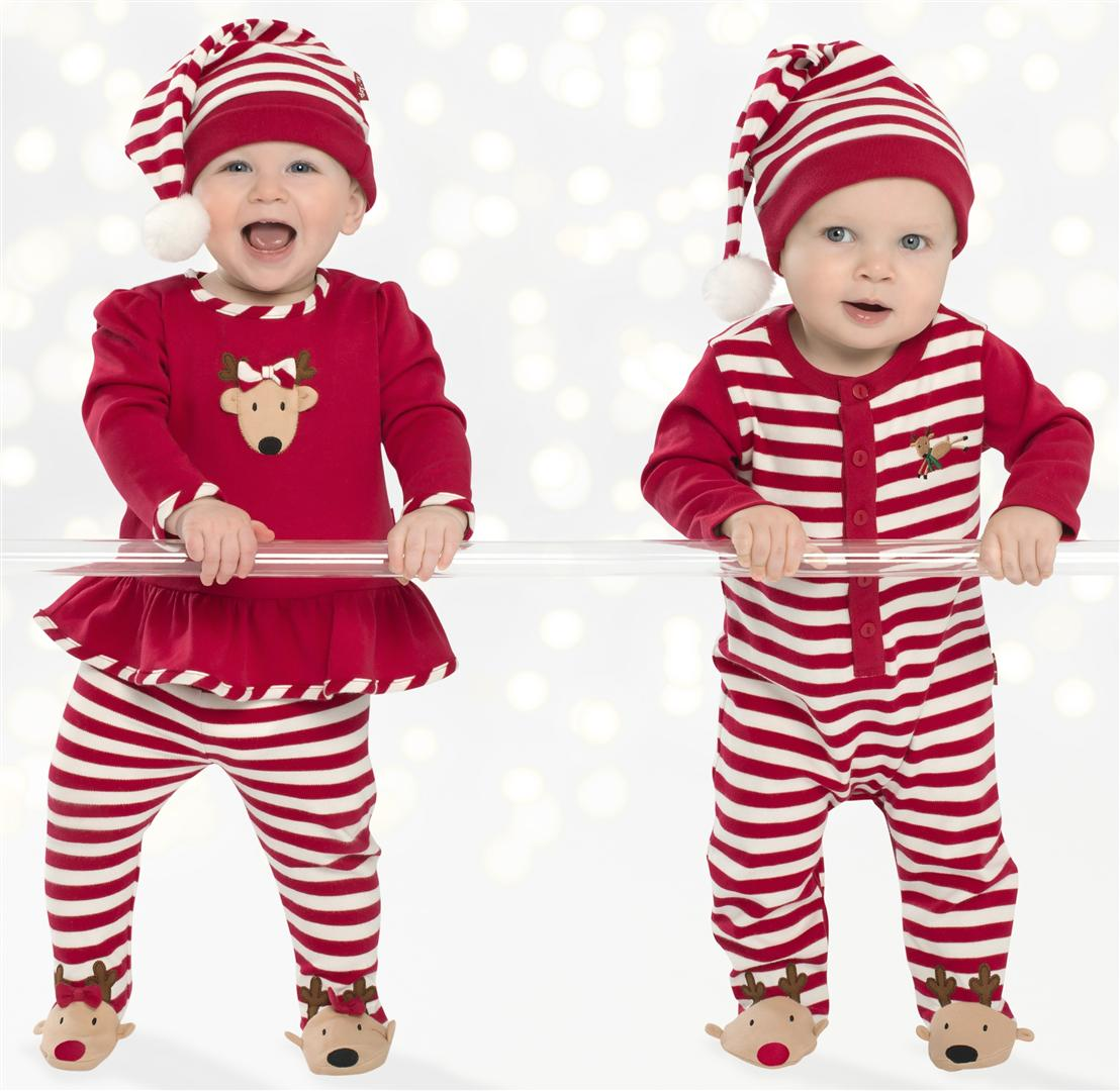 bf45a9008f54 LeTop. Reindeer Cheer Red Knit Reindeer Swing Top with Red and White Stripe  Elastic Waist Reindeer Footed Pants Sizes Available