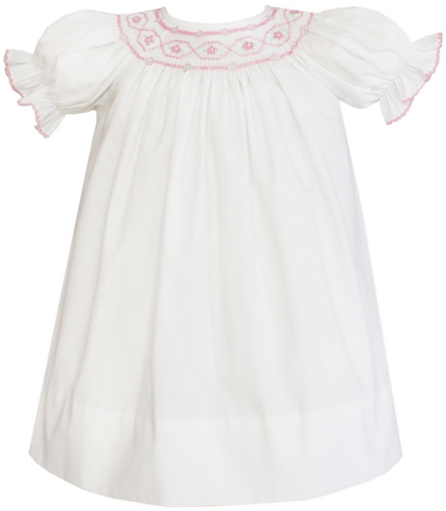 910e14681258a Petit Bebe Merida White Poplin Pink Geometric Hand Smocked Short Sleeve  Bishop Sizes Available: