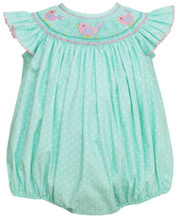 66c7165c2c1 Aqua Mini Dot Hand Smocked Birds Angel Sleeve Bishop Bubble Sizes  Available  3M