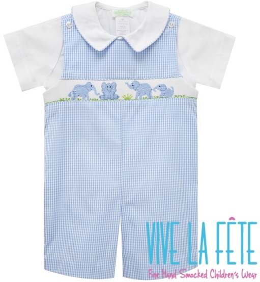 8063b1a8f Blue and White Check Hand Smocked Blue Baby Elephants Shortall with White  Polished Cotton Peter Pan Collar Short Sleeve Shirt Sizes Available: