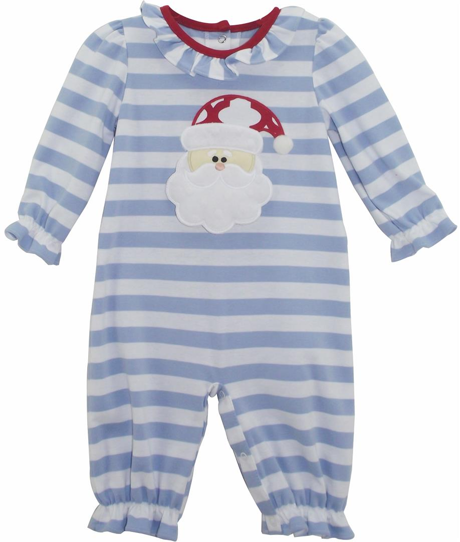 a87adfb15c41 Cloud Blue and White Stripe Knit Girls Santa Face Romper with Ruffle Neck  Trim Sizes Available